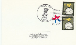 2005 MAY OK  USA COVER Card 2x 10c CLOCK Stamps - Clocks