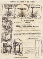 FEUILLE DE PUBLICITE - LISTE DE PRIX COURANT * A. MAUCHAIN GENEVE - TABLES A TRANSFORMATIONS MULTIPLES * 32 X 25CM - Advertising