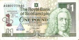 BILLETE DE ESCOCIA DE 1 POUND DEL AÑO 1997  (BANKNOTE) CONMEMORATIVO ALEXANDER GRAHAM BELL - [ 3] Escocia