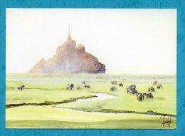 MONT SAINT MICHEL - Aquarelle Philippe Vandenberghe - Scans Recto/verso - Le Mont Saint Michel