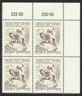 """Österreich 1990  """"500 Jahre Europäische Postverbindungen"""" 4er-Block  ÖS 5,-  ANK Nr. 2009 ** / Feinst Postfrisch - 1945-.... 2nd Republic"""