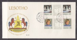 Lesotho: First Day Cover,1982, 21st Birthday Of Diana Princess Of Wales, 75s + M1 Gutter Pairs - Lesotho (1966-...)