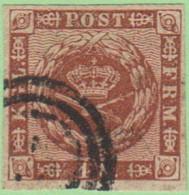 DEN SC #7a  1858 Royal Emblems 4 Margins, CV $8.00 - 1851-63 (Frederik VII)