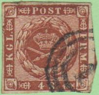 DEN SC #7a  1858 Royal Emblems 4 Margins Frame Line Recut @ UL, CV $8.00 - 1851-63 (Frederik VII)