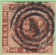 "DEN SC #7a  1858 Royal Emblems 4 Margins ""1"" (Kjobenhavn) In Conc. Circs., CV $8.00 - 1851-63 (Frederik VII)"