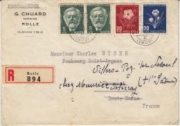 Lettre Recommandée Pro Juventute 1945 Pour La France Avec Contenu - Pro Juventute