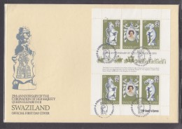SWAZILAND: First Day Cover, 1978, 25th Anniversary Of Coronation Of Elizabeth II, Complete Sheet (2 Sets) - Swaziland (1968-...)
