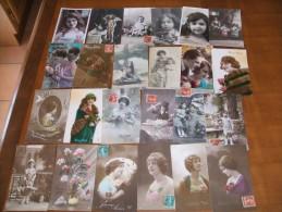 Lot de 642 cartes postales anciennes style fantaisie (couple, enfants,fleurs .........)