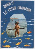REF 204  CPSM Enfant Nu Sur La Plage Le Plongeur - Cartes Humoristiques