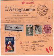 1931 - L´AEROGRAMME  Journal PAR AVION De Beauvais  Pour Dijon -affr. à 37 C. + Vignette - Postmark Collection (Covers)