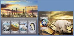 st14404ab S.Tome Principe 2014 Global warming Polar Bear Bird Penguin 2 s/s