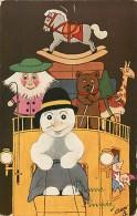 Themes Div - Ref K04- Illustrateur Raphael Tuck -les Jouets Humanisés -ours-girafle -cheval A Bascule -bonhomme De Neige - Tuck, Raphael