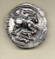 RARE f�ve PERSO (ronde des pains) MONNAIE ROMAINE quadrans 317-211 av JC - taureau de rome