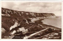 Train Passing Through Warren, Folkestone Black & White Photographic Postcard - Folkestone
