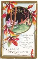 A Glad Thanksgiving - Art Deco Cottage Vignette - Colour Postcard By Whitney - Thanksgiving