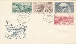 Czechoslovakia / First Day Cover (1955/19) Praha 3 (a): Railway Bridges, Railways, ..., Dam With Hydroelectric Power - Electricidad
