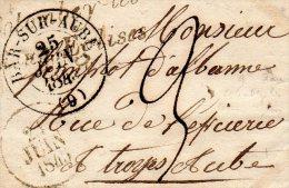 """Cursive """"9 Colombey Les Deux Eglises""""associée Au C. 13 BAR Sur Aube,L.S.C. 22 Juin 1844 - Marcophilie (Lettres)"""