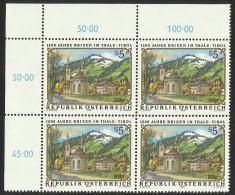 """Österreich 1988   """"1200 Jahre Brixen I. Thale /Tirol""""  4er-Block  ÖS 5,-   ANK Nr. 1961 ** / Feinst Postfrisch - 1945-.... 2nd Republic"""