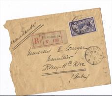 Courrier Enveloppe Coupée RECOMMANDE PARIS 7 N°193 R Type Merson Cachet Paris ET Les Riceys - 1900-27 Merson