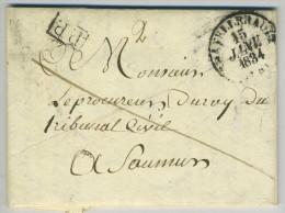 LàC 1834 Type 13 Châtellerault Simple Cercle PP Port Payé Pour Saumur. Taxe 6 Barré 3. - Marcophilie (Lettres)