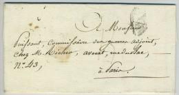 LàC 1819 Paris Local Ministère De La Guerre - Liquidation De L'Arriéré Pour Commissaire Des Guerres Adj. Voir Marque. - Marcophilie (Lettres)