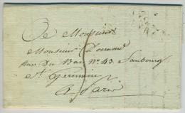 LàC 1827 Cursive Ste-Suzanne Marque Linéaire EVRON Pour Paris. - Marcophilie (Lettres)