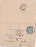 CARTE LETTRE - ENTIER POSTAL   Boissy St Léger 1900 - Kartenbriefe