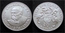 20 Corowns 1974 - Winston Churchill - Silber 925 - Turks En Caicoseilanden