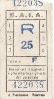 PALERMO  /    S.A.I.A.  - BIGLIETTO  PER AUTOBUS  _    R   ( Ser.  F ) - Bus