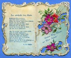 (3Scan) Heiligenbild Andachtsbild Goldprägung, Seidenstickerei, Andenken Maria Brunn, Mehrseitig Wie Gebetbuch Um 1900 - Religion &  Esoterik