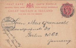 Ganzsache Großbritanien 1907 - One Penny Ganzsache Auf Pk Von Bournemouth > Berlin