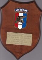 US Army airborne - plaque bois offerte pour D-Day commemoration � Cherbourg - 25 cm x 18 cm