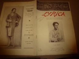 1929 LYRICA :Technique RESPIREZ; T�nor Lauri Volpi; M�moire d'un mime; En Allemagne; couverture photo par Henri Manuel