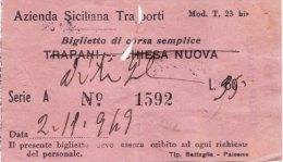 PALERMO  /   1949  -  A.S.T.  _   BIGLIETTO  PER  AUTOBUS  DA  LIRE  60 - Sovrastampato _ ( Marca Da Bollo Sul Retro) - Europa