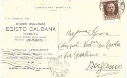 1935 CENT.30 SU C.P.STUDIO SCULTURA EGIDIO CALDANA VICENZA - 1900-44 Vittorio Emanuele III