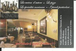 CAL144 - CALENDARIETTO 2005 - RISTORANTE AL CENACOLO - MODENA - Calendarios