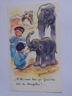 BOURET GERMAINE NO 1209 M.D PARIS ENFANTS ELEPHANTS .IL TETE AUSSI BIEN QUE GRAND PERE AVEC DU BEAUJOLAUS - Bouret, Germaine