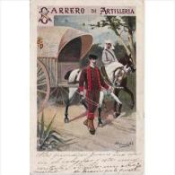 MLTTP0501CPA-LFT1855TTSC.Tarjeta Postal De España.Caballos,soldado De ARTILLERIA Y Carro. CARRERO DE ARTILLERIA - Postales