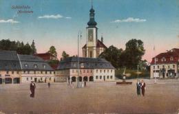 SCHÖNLINDE (Böhmen) Marktplatz Seltene Karte Gel.1914, Abgelöste Marke - Böhmen Und Mähren