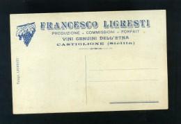 S5254 CARTOLINA CATANIA CASTIGLIONE SICILIA PUBBLICITA' LIGRESTI FRANCESCO VINI DELL' ETNA  FP. NV.
