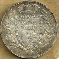 LIECHTENSTEIN 5 KRONEN SHIELD & WREATH FRONT PRINCE HEAD BACK 1915 AG  AU-UNC Y.4  READ DESCRIPTION CAREFULLY !!! - Liechtenstein