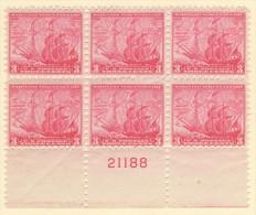 USA SC #736  MNH PB6 1934 Maryland Tercentenary #21188, CV $9.50 - Plate Blocks & Sheetlets