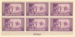 USA SC #739  MNH PB6 1934 Wisconsin Tercentenary #21241, CV $5.00 - Plate Blocks & Sheetlets