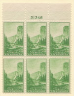 USA SC #740  MNH PB6 1934 National Parks/Yosemite #21246, CV $2.50 - Plate Blocks & Sheetlets