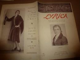 1929 LYRICA :Lili LEHMANN ; Aphorismes sur le chant;Maitres du chant fran�ais;Th��tre en Allemagne; Couv. Henri Manuel