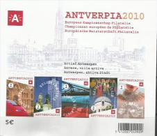 Blok153. Antverpia 2010 Europees Kampioenschap Filatelie 120 Jaar KLBP. Ongetand Met Nummer Op Achterzijde.Cote 40 &euro - Imperforates