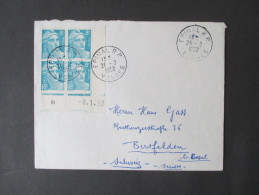 Frankreich Nr. 802 (Ausgabe 1947) Eckrandvierer Mit Druckdatum 8.1.1952. Sauber Gestempelt, Schöner Beleg! - France