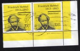 Allemagne 2013 Lot 2 Oblitérés Used Stamps Friedrich Hebbel Poète Et Dramaturge Coin De Feuille - [7] République Fédérale
