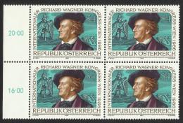"""Österreich 1986  """"Kongreß Der Int. Richard - Wagner - Bewegung""""  4er-Block  ÖS 4,-  ANK Nr. 1880 **/feinst Postfrisch - 1945-.... 2nd Republic"""