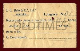 PORTUGAL - AZEITAO - J.C. BELO & CA. - BILHETE DE AUTOCARRO - 1952 OLD TICKET